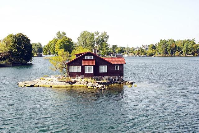 voda, ostrůvek, domek